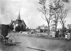 Buildings destroyed in fire of 1900. St. Bernard's church left standing.